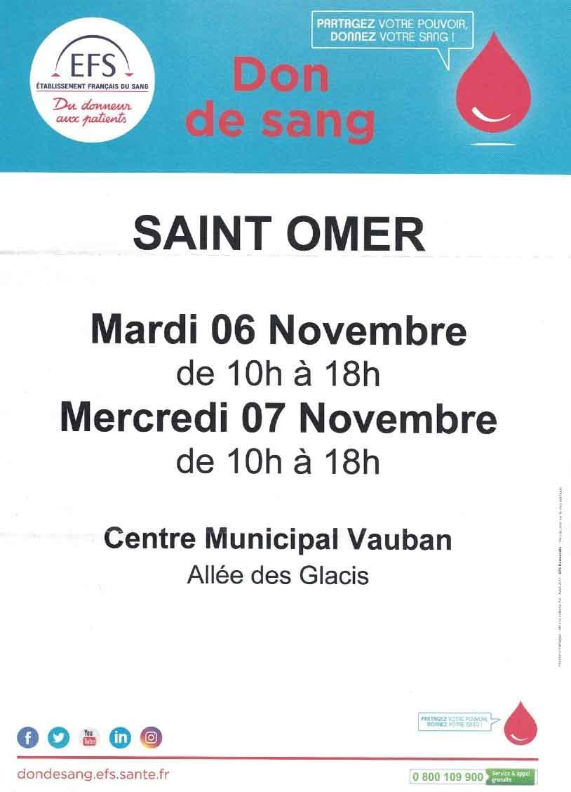 Don de sang 6 et 7 novembre