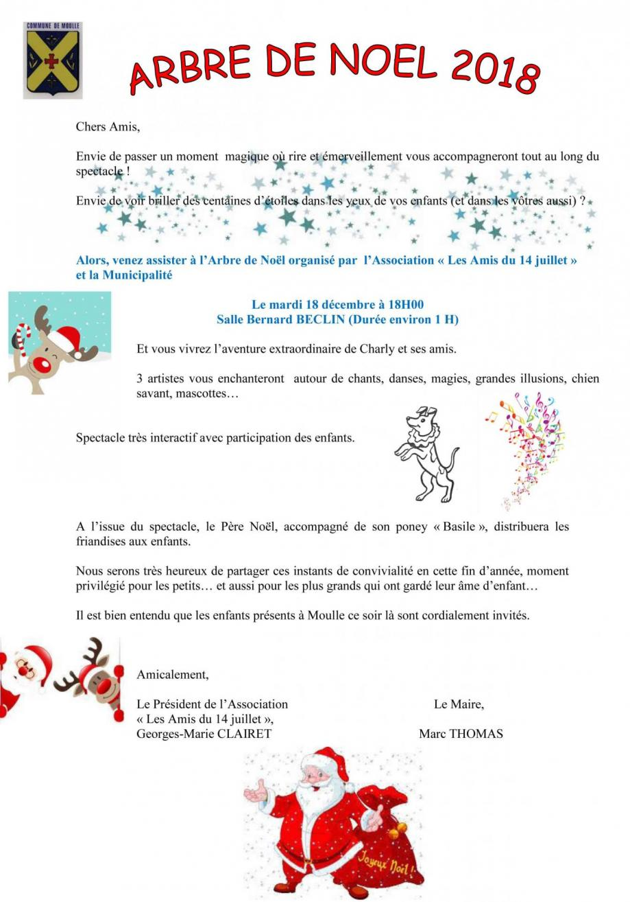 Invitation arbre de noel 2018