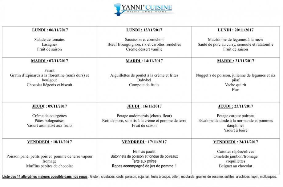 Menus scolaire du 6 au 24 novembre
