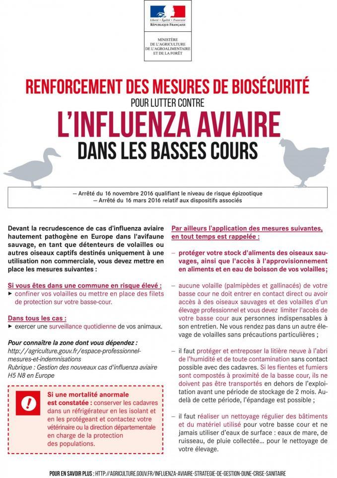Renforcement des mesures de biosecurite